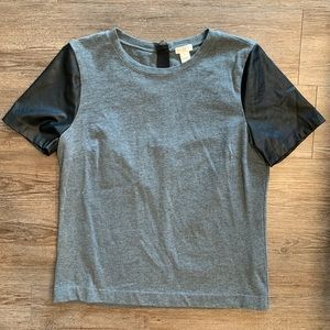 J. Crew Short Sleeve Shirt with Leather Sleeves